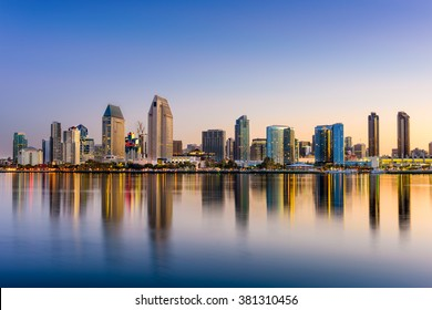 San Diego, California, USA downtown skyline at the Embarcadero.