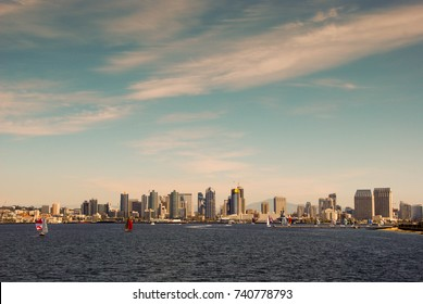 San Diego, California, USA - February 2017: Wide angle view of the city skyline from the harbour with sky dominant