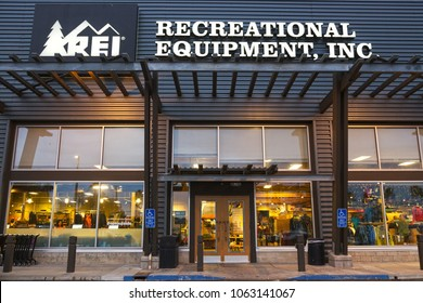 San Diego, California, USA - January 30,2018: Recreational Equipment, Inc. (REI) Building Exterior in Clairemont Mesa