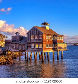 San Diego, California / The U.S.A - January 2018: HDR image of San diego pier cafe.The San Diego Pier Cafe was established in Seaport Village since 1980.