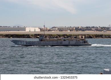 San Diego, California / USA - January 26, 2019: Navy A Landing Craft Utility (LCU 1635).