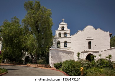San Diego, California, USA – July 30, 2017: Horizontal view of the Mission Basilica San Diego de Alcala (the first Franciscan Mission in California) façade
