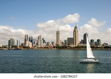SAN DIEGO, CALIFORNIA, USA - MARCH 2009: Sailing boat in the harbour with the city skyline in the background