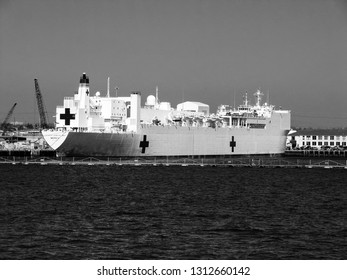 SAN DIEGO, CALIFORNIA, USA - MARCH 16, 2007: Naval hospital ship Mercy at San Diego bay in San Diego, California, USA on March 16, 2007. Mercy is converted San Clemente-class supertanker.