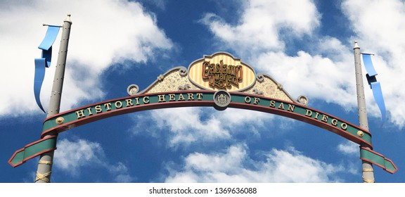 San Diego, California / USA – March 01, 2019: Horizontal view of the Gaslamp Quarter gateway arch or entrance at 5th Ave