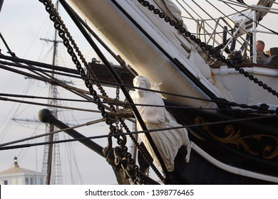 San Diego, California, USA - March 27, 2007: figurehead on the bow of Star of India - tall ship museum in the port of San Diego