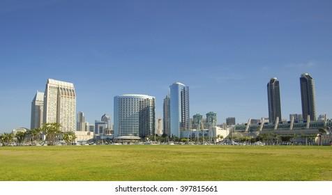 SAN DIEGO, California, USA - March 15, 2016: skyline of San Diego downtown, USA.
