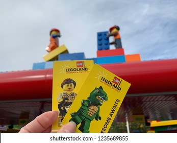 San Diego, California (USA) - November 19, 2018. Two park hopper tickets to Legoland California, a popular amusement park for all Lego toy lovers.