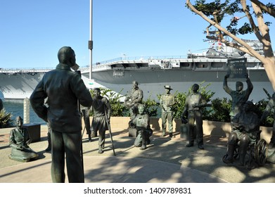 SAN DIEGO, CALIFORNIA / USA - NOVEMBER 29 2009: National Salute to Bob Hope and the Military and USS Midway at Tuna Harbor Park on San Diego Bay.