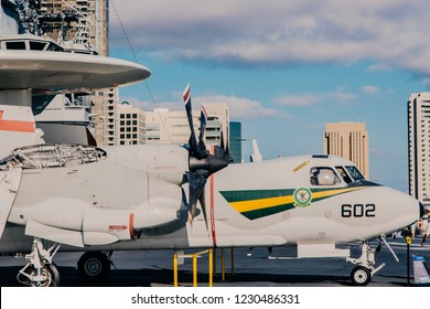 SAN DIEGO, California, USA - October 8, 2018: Aircraft in aircraft carrier USS Midway (CV-41), flying deck, museum in San Diego harbour, USA
