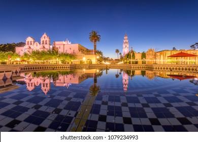 San Diego, California, USA plaza fountain at night.