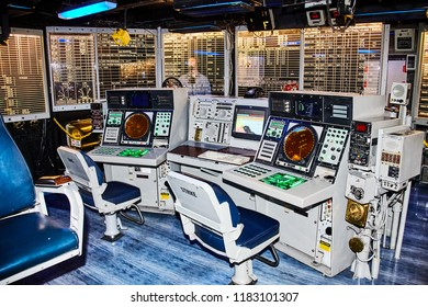 SAN DIEGO, CALIFORNIA/ USA - SEPTEMBER 03 2018: Aircraft control center of Midway. USS Midway was an aircraft carrier, the lead ship of her class. She is now a museum ship.