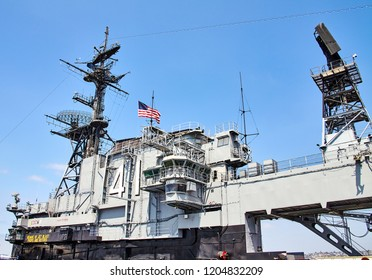 SAN DIEGO, CALIFORNIA/ USA - SEPTEMBER 03 2018: USS Midway. Flight deck. USS Midway was an aircraft carrier, the lead ship of her class. She is now a museum ship.