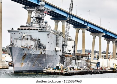 SAN DIEGO, CALIFORNIA / USA - SEPTEMBER 03 2018: Whidbey Island Class Dock Landing Ship (LSD-45). Comstock is assigned to COMSURFPAC, Amphibious Group Three and is homeported in San Diego, CA.