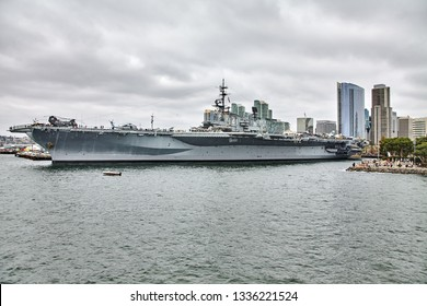 SAN DIEGO, CALIFORNIA / USA - SEPTEMBER 03 2018: USS Midway. USS Midway was an aircraft carrier, the lead ship of her class. She is now a museum ship.