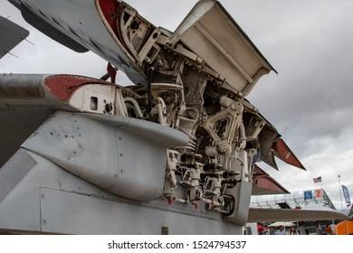 San Diego, California / USA -  September 29, 2019: Folding wing hinge mechanism on Vietnam War-era A6 Intruder on display at the MCAS Miramar Air Show.