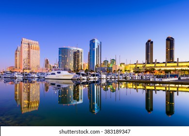San Diego, California, USA skyline at the Embarcadero Marina.