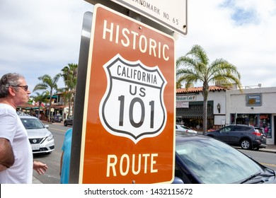 San Diego, California/United States - 05/31/2019: A street sign indicating the  street is part of the Historic Route California US 101 highway