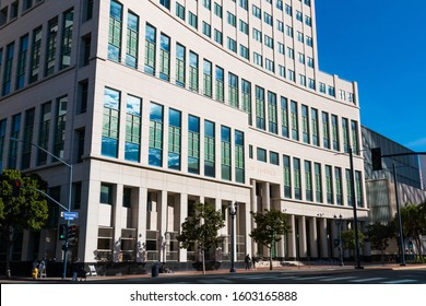 SAN DIEGO, CALIFORNIA/USA - JANUARY 8, 2017:  The Hall of Justice building, occupied by the Superior Court, Small Claims Court, Sheriff's Court Services, probation and the District Attorney's Offices.