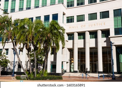 SAN DIEGO, CALIFORNIA/USA - JANUARY 8, 2017:  The Hall of Justice, occupied by the Superior and Civil Courts. It also includes offices for Probation, Small Claims and the District Attorney.