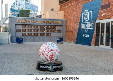 SAN DIEGO, CALIFORNIA/USA - JANUARY 8, 2017:  The Padres Hall of Fame Plaza at Petco Park, which opened on 07/01/2016 and is a tribute to the history of the Padres Club and baseball in San Diego.