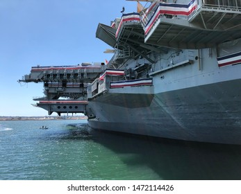San Diego, California/USA - June 22, 2019:  USS Midway, a decommissioned aircraft carrier, now serves as a museum ship.