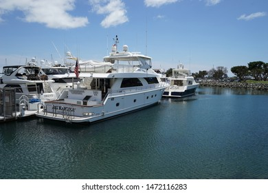 San Diego, California/USA - June 22, 2019:  Several luxury cabin cruisers moored in a marina by San Diego.