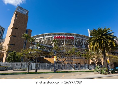 SAN DIEGO, CALIFORNIA/USA - MARCH 21, 2020:   The Petco Park open-air baseball stadium, which opened in 2004, and is home of the San Diego Padres MLB team.