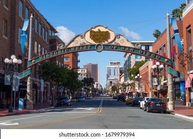 SAN DIEGO, CALIFORNIA/USA - MARCH 21, 2020:   Community archway for the Gaslamp District, completed in 1992 to celebrate the redevelopment of this downtown neighborhood.