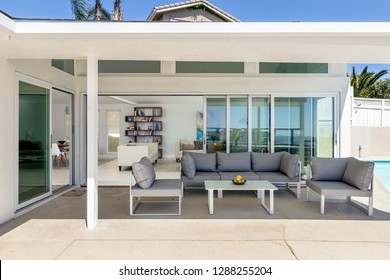 San Diego, California/USA - March 24, 2017: Home outdoor patio looking to the inside