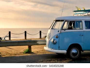 SAN DIEGO, CA/US - 02/14/2017  vintage vw hippie van in sunset evening mood over sunset cliffs in san diego on surf holiday