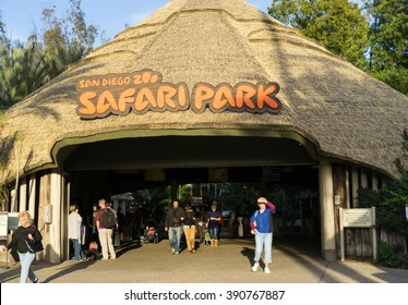 SAN DIEGO, CA/USA - JANUARY 16: Entrance of San Diego safari park zoo in San Diego, CA on Jan 16, 2016. It is one of the largest tourist attractions in San Diego County.