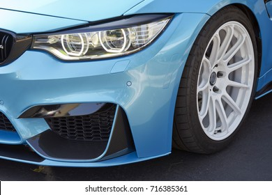 San Diego, CA/USA - October 15, 2016: BMW M3 with HRE wheels on display at the San Diego Cars & Coffee car show where local car enthusiasts meet monthly to display cars and socialize