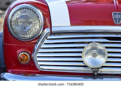 San Diego, CA/USA - October 15, 2016: classic vintage british MINI car on display at the San Diego Cars & Coffee car show where local car enthusiasts meet monthly to display cars and socialize