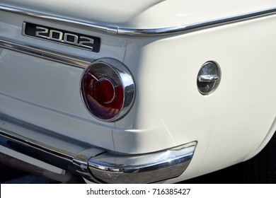 San Diego, CA/USA - October 15, 2016: classic restored cream BMW 2002  on display at the San Diego Cars & Coffee car show where local car enthusiasts meet monthly to display cars and socialize