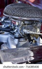 San Diego, CA/USA - October 15, 2016: engine compartment of 1965 Studebaker on display at the San Diego Cars & Coffee car show where local car enthusiasts meet monthly to display cars and socialize