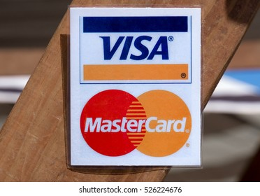 SAN DIEGO, CA/USA - SEPTEMBER 9, 2016: Visa MasterCard sign and logo at retail store.
