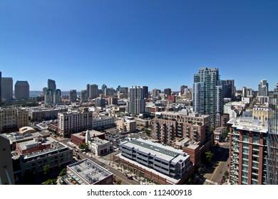 San Diego city skyline on a bright sunny summer day.