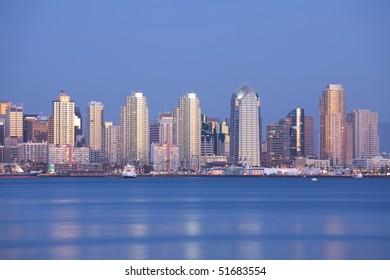 San Diego city skyline and reflection