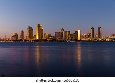 San Diego Cityscape, California, USA - October 6th, USA. San Diego Cityscape during sunset seen from Coronado Island.