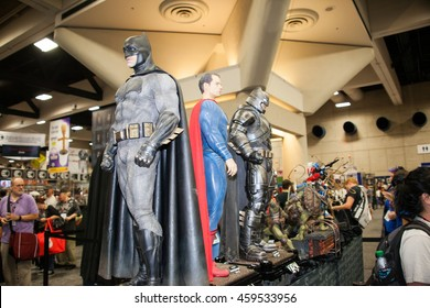 SAN DIEGO COMIC CON: July 20, 2016. DC Superhero figures including Batman and Superman on display at the annual pop culture and comic book convention in San Diego, California.