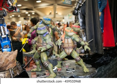SAN DIEGO COMIC CON: July 20, 2016. Teenage Mutant Ninja Turtles figures on display at the annual pop culture and comic book convention in San Diego, California.