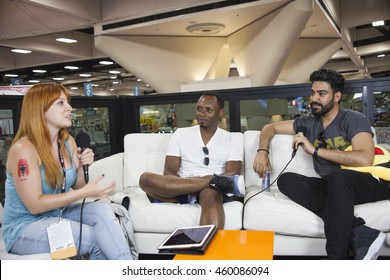 SAN DIEGO COMIC CON: July 22, 2016. Actors Malcolm Goodwin and Rahul Kohli from the CW television show iZombie being interviewed by Dani Bullis at the LootCrate and GamesRadar booth.