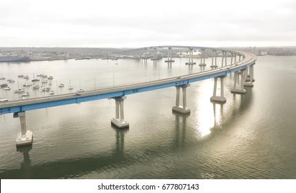 The San Diego Coronado Bridge is a prestressed concrete/steel girder bridge, crossing over San Diego Bay in the United States, linking San Diego with Coronado, California.