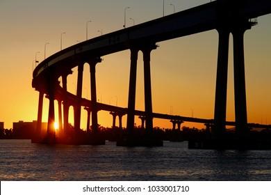 The San Diego - Coronado Island Bay Bridge at sunset.  Taken from the San Diego Bay.