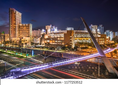 San Diego and the downtown Gaslamp Quarter skyline view at night in California USA