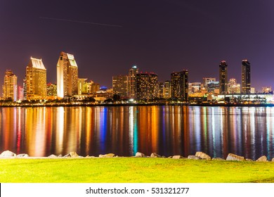 San Diego downtown seen from Coronado at night, California