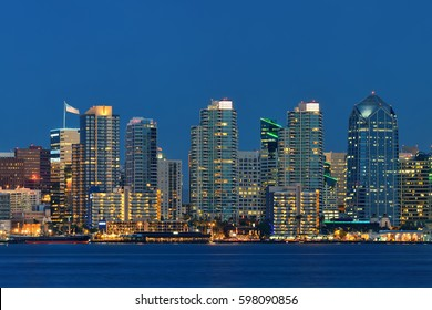 San Diego downtown skyline over water at night