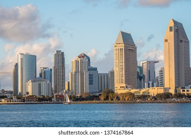 San Diego downtown skyscrapers at sunset - CALIFORNIA, UNITED STATES - MARCH 18, 2019
