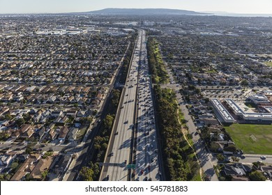 San Diego Freeway aerial view south towards the South Bay area of Los Angeles County.